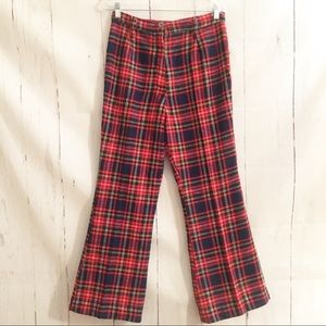 Vintage 1960's Soft Red Plaid High Waist Pants